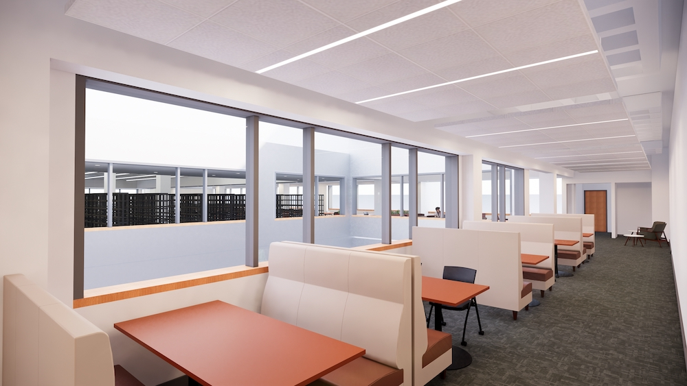 Computer rendering of a booth seating area next to sunny atrium windows.