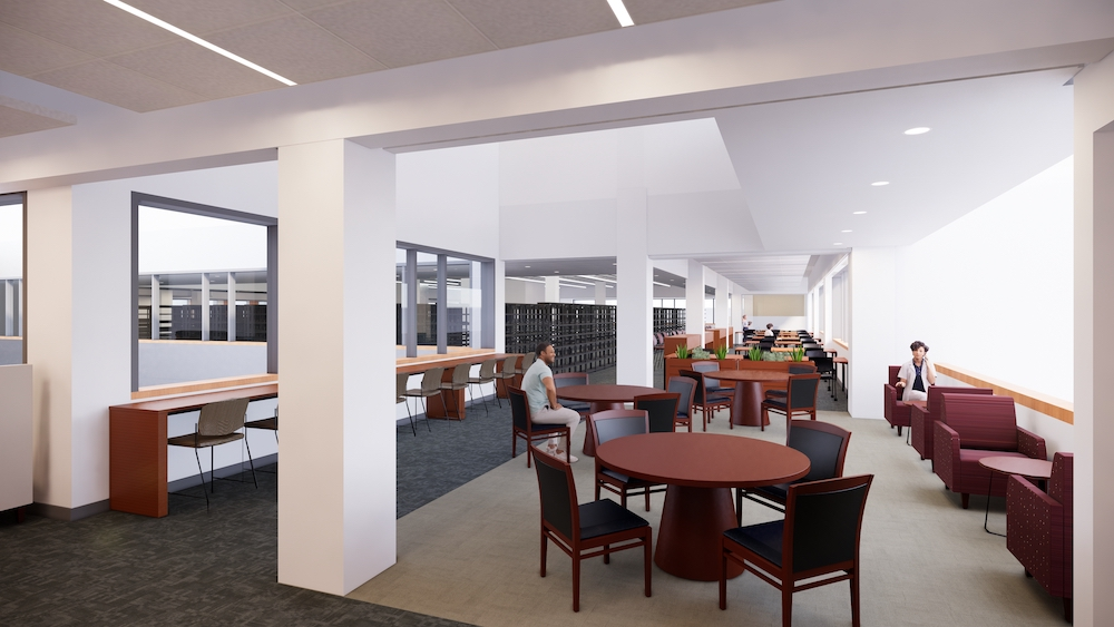 Computer rendering of new seating in sunlight through windows. In the foreground are some round tables with chairs, and some cushioned chairs near low tables. To the left are tall chairs at a bar overlooking the atrium. In the background are group study tables.