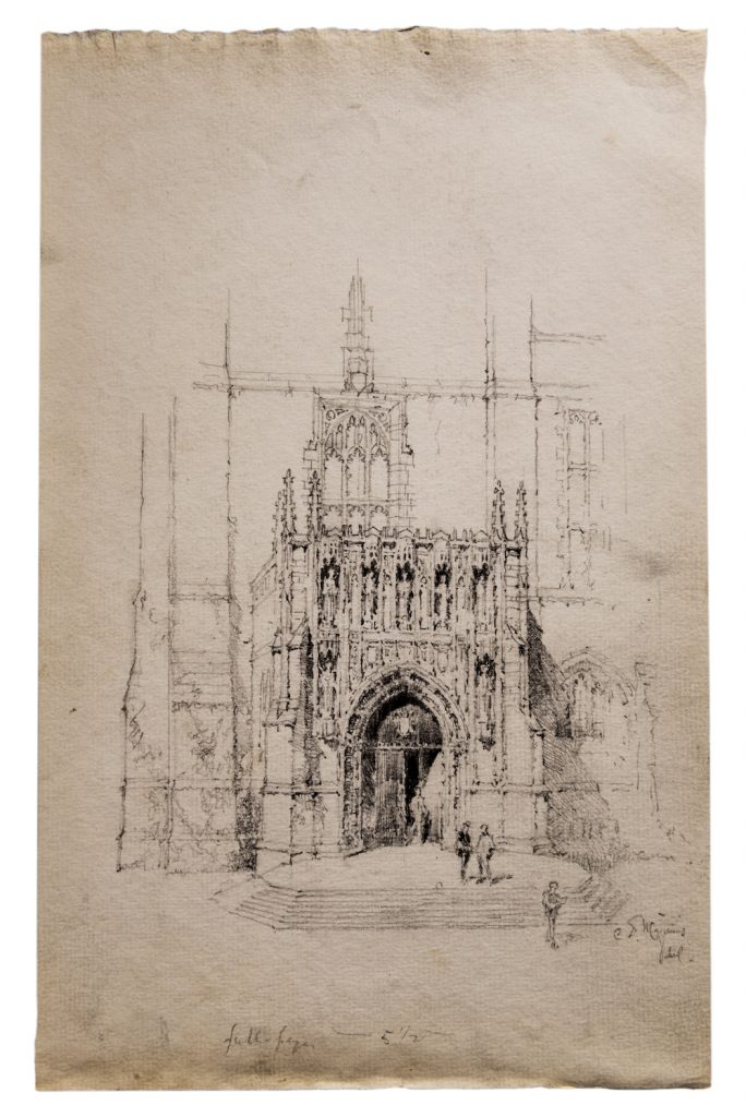 pencil sketch on brown-tinted paper of neo-gothic building with gothic doorway, tower, and decorative details