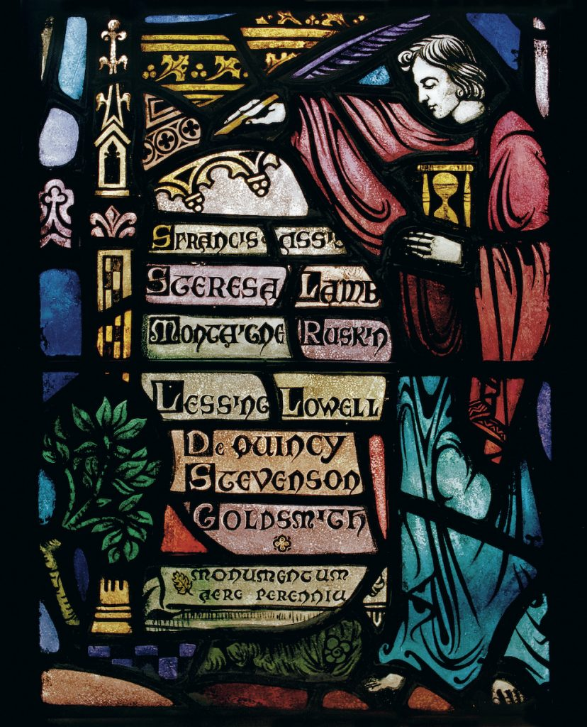 Stained glass image of a man in a red robe holding an hourglass and quill pen standing next to a stack of books with authors on the bindings such as Ruskin, Lessing, Lowell, and Stevenson