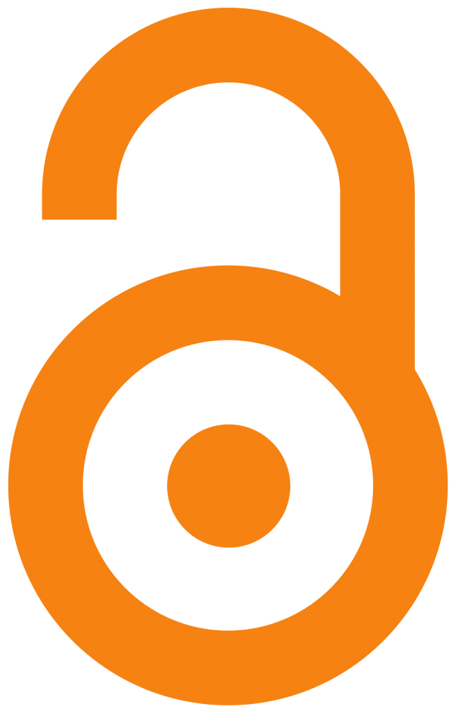 """Open Access logo: a simple image of an open padlock, also representing a lower-case """"o"""" and """"a"""""""