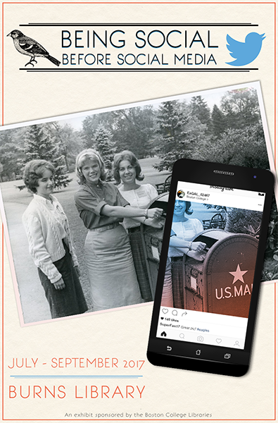 Photo of students from 1970s placing letter in to a mailbox, next to an image of a cellphone with the same photo on it