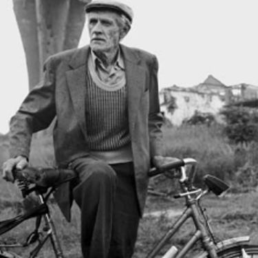 Photo of Fine Arts Professor Charles A. Meyer by his bike