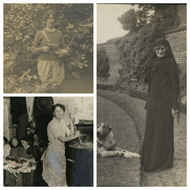 Photo collage of Contstance Markievicz, Maude Gonne, and Mollie Gill