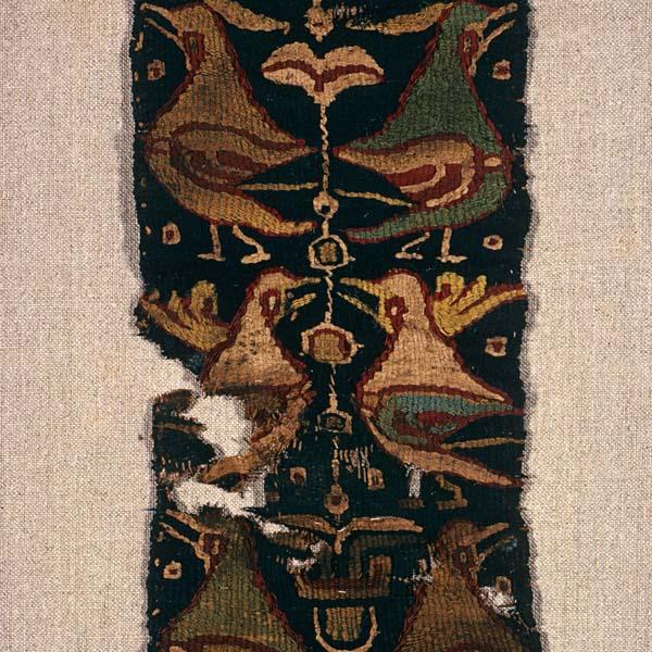 Textile fragment with heraldic birds