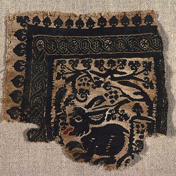 Textile fragment with hare and grapevine