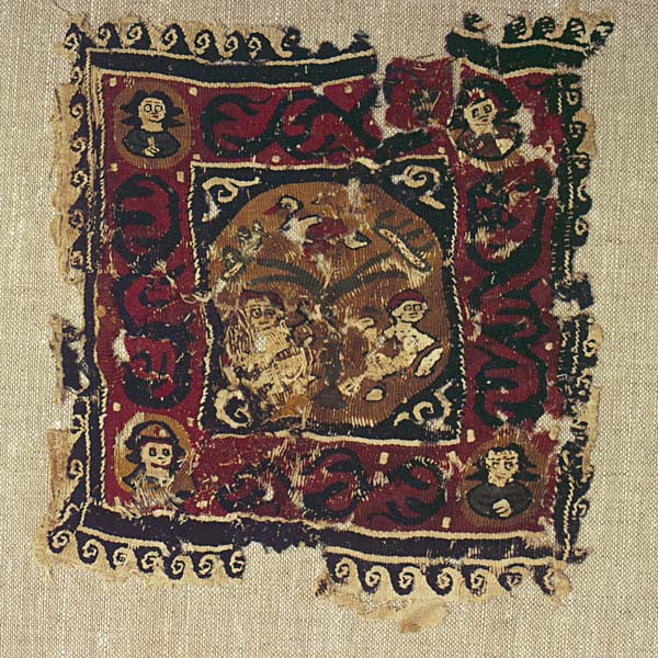 Textile fragment with tree of life, human figures, bird