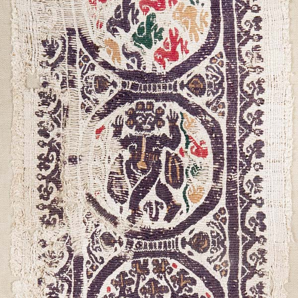 Textile band with roundels filled with lions, birds, foliage, dancers
