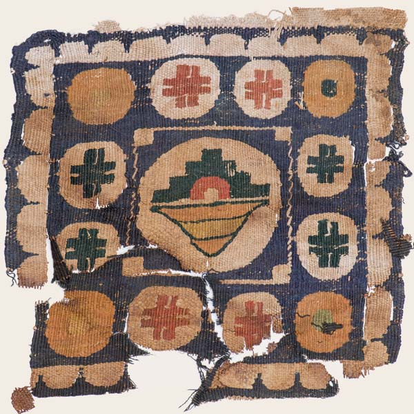 Textile fragment with fruit basket