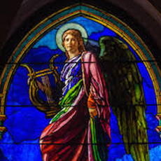 Stained glass image of angel from La Farge Exhibit