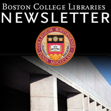 Boston College Library Newsletter coupled with the official BC seal