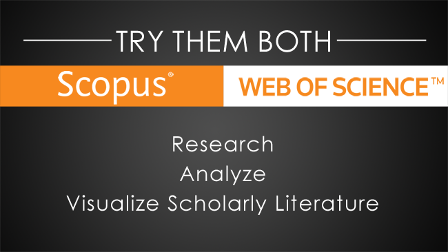 Poster reads: Try Scopus or Web of Science today!