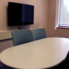 Photo of one of the study rooms in the O'Neill Library