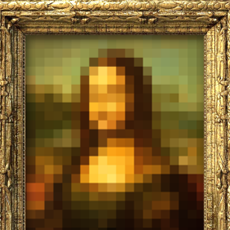 Pixelated imaged of the Mona Lisa.