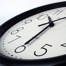A photo of an analog clock