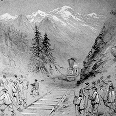 Drawings of the Beginnings of the Transcontinental Railroad by Joseph Becker