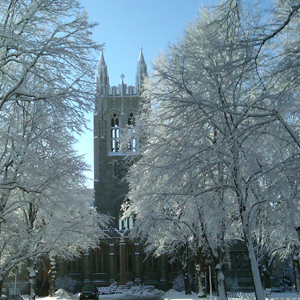 The Boston College Campus on a snowy day.